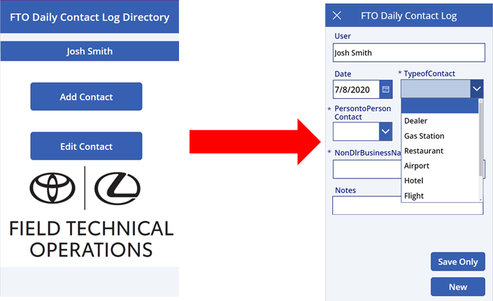 Microsoft Power App: FTO Daily Contact Log Directory