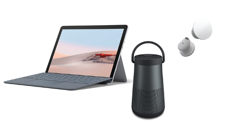 Screenshot of the Automated It sweepstakes prices, including Microsoft Surface Go 2, Bose Bluetooth speakers, and YETI mugs