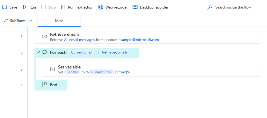 Mail message variable properties 'From' and 'To' can now be retrieved properly