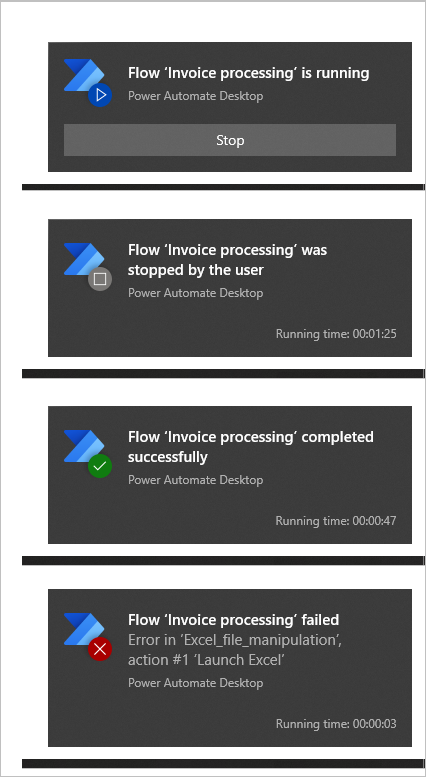 Runtime notifications