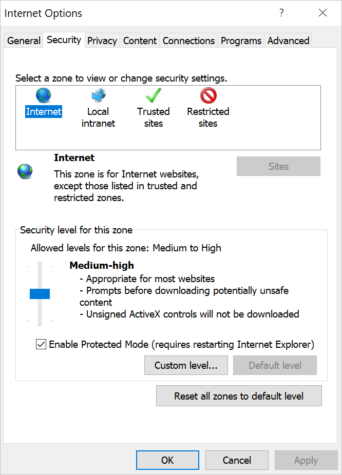 IE Protected Mode