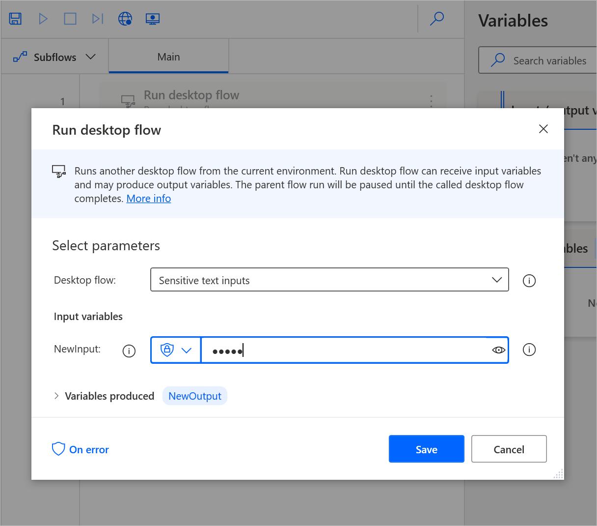 Run desktop flow action
